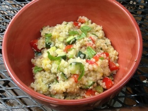 Crunchy veggie & pineapple quinoa salad with basil