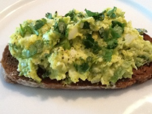 Avocado egg salad tartines