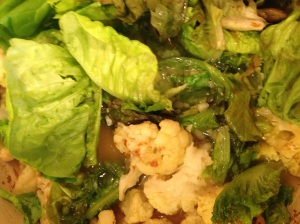 ingredients for lettuce and cauliflower soup