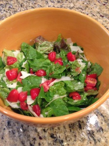 A big salad with dressing made from my oregano-infused vinegar